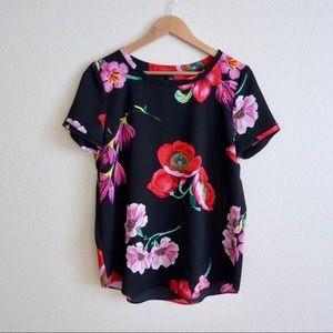 Ann Taylor Black Floral Short Sleeve Top